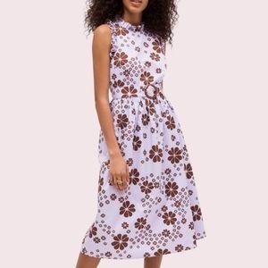 KATE SPADE lavender & brown flora spade midi dress